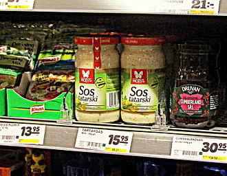 Tartar sauce - Polish tartar sauce on a Swedish supermarket shelf