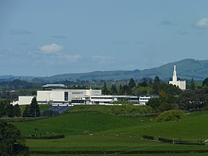 Church College of New Zealand - Church College campus, with Hamilton New Zealand Temple in background