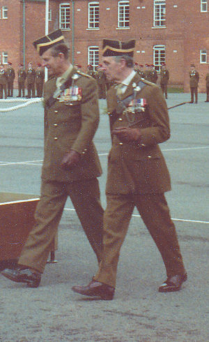 "Queen's Royal Irish Hussars - Prince Philip and Major General John Strawson. St Patrick's Day 1980, Bhurtpore Barracks, Tidworth. Both are wearing the Irish Hussar ""Tent Hat""."