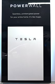 Tesla Powerwall Rechargeable lithium-ion battery stationary energy storage products manufactured by Tesla, Inc.