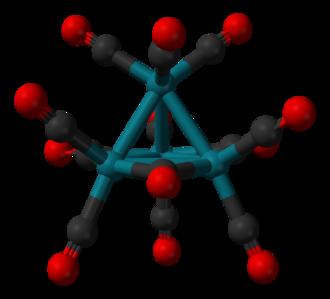 Tetrarhodium dodecacarbonyl - Image: Tetrarhodium dodecacarbonyl from xtal 173K 3D balls A