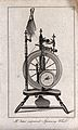Textiles; a cotton spinning wheel. Engraving by Eastgate. Wellcome V0024072EL.jpg