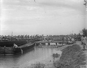 Second Battle of the Piave River - Italian Marines of the San Marco Brigade landing from barges to take up positions on the Piave Front