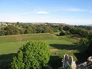 Carisbrooke Castle - The bowling green used by Charles I during his imprisonment