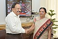 The Chief Minister of Gujarat, Smt. Anandiben Patel calling on the Union Minister for Health and Family Welfare, Dr. Harsh Vardhan, in New Delhi on August 08, 2014 (1).jpg