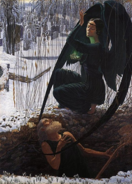 "Death and the Grave Digger (La Mort et le Fossoyeur) (c. 1895) by Carlos Schwabe is a visual compendium of symbolist motifs. The angel of Death, pristine snow, and the dramatic poses of the characters all express symbolist longings for transfiguration ""anywhere, out of the world"". The Death of the Grave Digger.jpg"