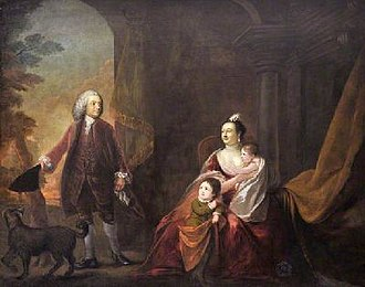 Henrietta Clive, Countess of Powis - Lady Henrietta with her parents and brother in 1760