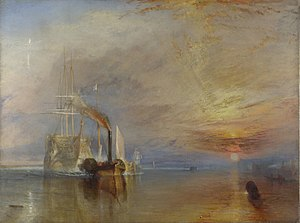 Oil painting of a tug towing a sailing ship towards the viewer as the sun sets in the right hand side