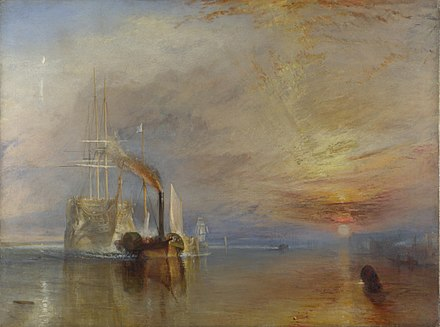 Turner's depiction of HMS Temeraire, hero of the Battle of Trafalgar, ignominiously towed by a little steamship. The Fighting Temeraire, JMW Turner, National Gallery.jpg