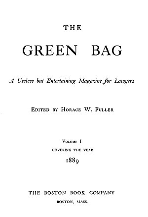 The Green Bag (1889–1914) - Frontispiece of The Green Bag, Volume I, 1889.
