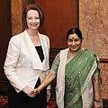 The Leader of Opposition in Lok Sabha, Smt. Sushma Swaraj meeting the Prime Minister of Australia, Ms. Julia Gillard, in New Delhi on October 17, 2012.jpg