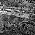 The March 9, 1978 rock fall which damaged plumber shop, R.D. Pollock visible on the hill overlooking the Oak Creek maintenance (afa8b4734e2742c4beaa90eb693e8ba5).jpg