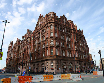 Midland Hotel, Manchester from the junction of Oxford Street and St Peter's Square. The Midland Hotel from Oxford Street Manchester.jpg