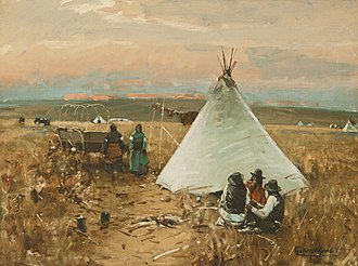 Gilbert Gaul (artist) - William G. Gaul (1855-1919), The Pow-Wow, 1890, Oil on canvas, Sid Richardson Museum, Fort Worth, Texas (https://www.sidrichardsonmuseum.org)