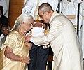 The President, Shri Pranab Mukherjee presenting the Padma Vibhushan Award to Dr. Girija Devi, at a Civil Investiture Ceremony, at Rashtrapati Bhavan, in New Delhi on April 12, 2016.jpg