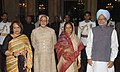The President Smt. Pratibha Patil, the Vice President Shri Mohammad Hamid Ansari his wife Smt. Salma Ansari and the Prime Minister Dr. Manmohan Singh after Swearing-in-Ceremony in New Delhi on August 11, 2007.jpg