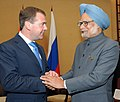 The Prime Minister, Dr. Manmohan Singh and the President of the Russian Federation, Mr. Dmitry A. Medvedev, in a bilateral meeting, on the sidelines of BRICS Summit, at Sanya, China on April 13, 2011.jpg