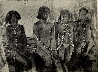 Peruvian Amazon Company - Chained workers photographed by Casement and published in his 1913 report