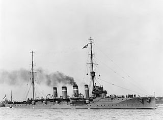 1909 Bristol class light cruiser of the Royal Navy