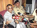 The Union Home Minister, Shri Shivraj Patil, addressing the Media persons at Guwahati Airport, after visiting the Bomb Blast areas of Assam and Nagaland on October 4, 2004.jpg
