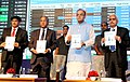 The Union Minister for Finance, Corporate Affairs and Information & Broadcasting, Shri Arun Jaitley releasing the publication at a function to mark the merger of Forward Markets Commission with Securities & Exchange Board of.jpg