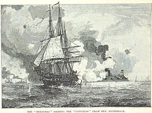Battle of Hampton Roads - Virginia drives Congress away from her anchorage