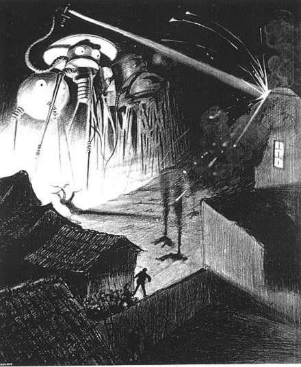 Martian war machines destroying an English town in H. G. Wells' The War of the Worlds The War of the Worlds by Henrique Alvim Correa 08 b&w.jpg