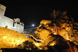 The back of Ancient Roman theatre nightly, Plovdiv, Bulgaria.jpg