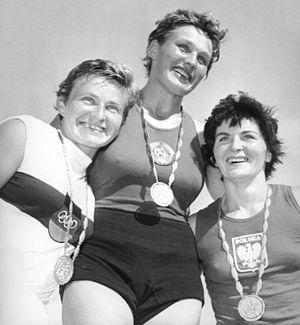 Antonina Seredina - Seredina (center) at the 1960 Olympics