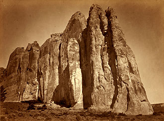 Cibola County, New Mexico - South side of Inscription Rock, El Morro National Monument.  Photo by Timothy H. O'Sullivan, 1873.