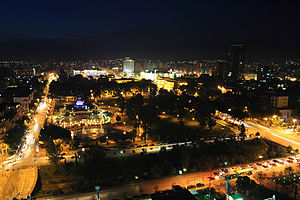 Skyline of Tirana by night looking over Rinia Park