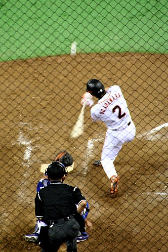 Michihiro Ogasawara is one of only two players to win the award in the Central and Pacific Leagues. Tokyo Dome (Ogasawara Swing).jpg