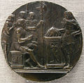 Tomaso di calisto (maestro delle eroiche virtù), eroismo di muzio scevola, anni 1470.JPG