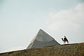 Top of Khafre's Pyramid seen across dunes. Giza, Cairo, Egypt, North Africa.jpg