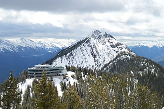 Sulphur Mountain (Alberta) - This image is a view from along the boardwalk on the top of Sulphur Mountain. It pictures the mountain top terminal and viewing deck.
