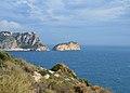 Torre d'Ambolo i l'illa del Descobridor des de lluny, Xàbia.JPG