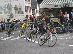 The front of the peloton during stage 12 of th...