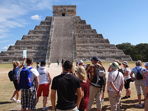 Tourists Gather by El Castillo (The Castle) - Chichen Itza Archaeological Site - Yucatan - Mexico