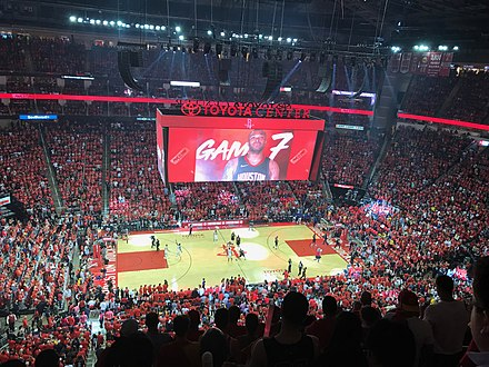 Toyota Center is home of the Houston Rockets Toyota Center Game 7 2018 playoffs.jpg