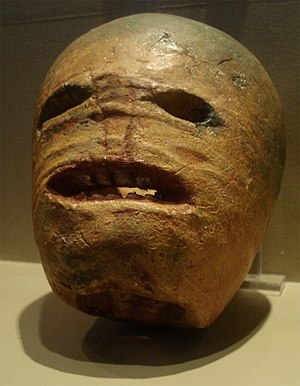 Halloween - A traditional Irish Halloween turnip (rutabaga) lantern on display in the Museum of Country Life, Ireland