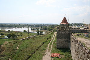 Bender, Moldova - The remnants of fortress walls with the Dniester River in the background.