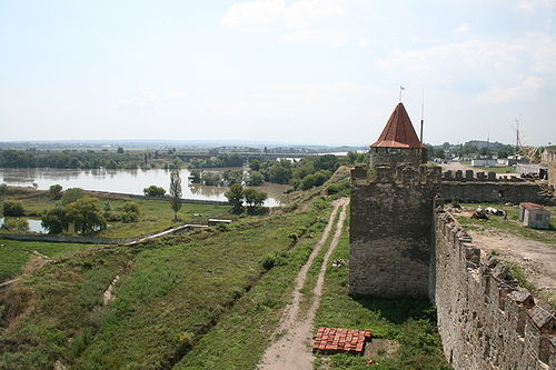 The remnants of fortress walls with the Dniester River in the background. Transnistrienfortress.jpg
