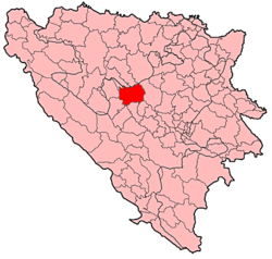Location of Travnik within Bosnia and Herzegovina.