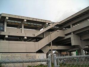 Metrorail (Miami-Dade County) - Tri-Rail Metrorail transfer station, showing brutalist architecture.