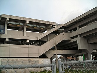 Metrorail (Miami-Dade County) - Tri-Rail Metrorail transfer station, showing brutalist architecture.