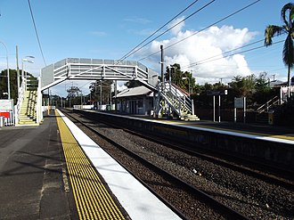 Trinder Park railway station - Southbound view from Platform 1 in July 2012