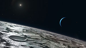 Triton (moon) - Artist's impression of Triton, showing its tenuous atmosphere just over the limb.