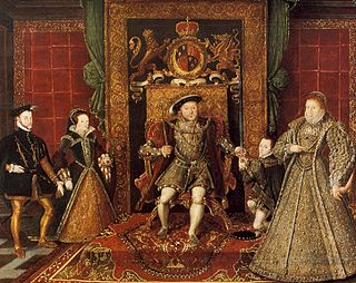 Allegory of the Tudor dynasty (detail), attributed to Lucas de Heere, c.1572: left to right, Philip II of Spain, Mary, Henry VIII, Edward VI, Elizabeth.