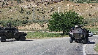 Controversies during the Turkish general election, November 2015 - Turkish Army vehicles in Diyarbakır following the collapse of the solution process in July 2015