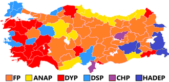 20th Parliament of Turkey - Image: Turkish general election 1995